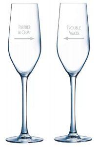Partner in crime slogan champagne flutes