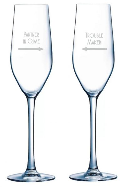 Partner in crime slogan champagne flutes