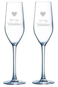 Valentines Day Slogan Champagne Flute Pair