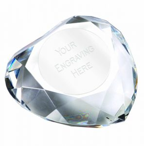 Heart shaped Diamond Paperweight