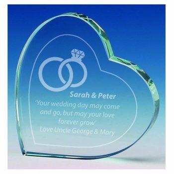 Jade Glass Heart Shaped Glass Gift or Award