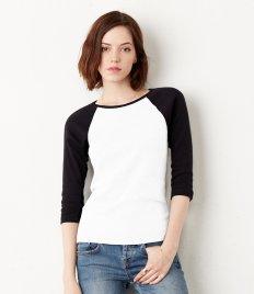 Bella Ladies Baby Rib 3/4 Sleeve Contrast T-Shirt