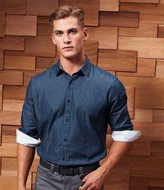Premier Long Sleeve Denim-Pindot Shirt
